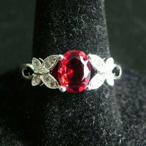 Double Butterfly Light Siam CZ Ring